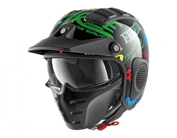 Casca moto scuter SHARK X-DRAK FREESTYLE CUP culoarea negru albastru green, marimea S unisex