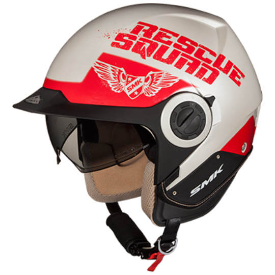Casca moto scuter SMK DERBY RESCUE GL130 culoarea rosu alb, marimea M unisex