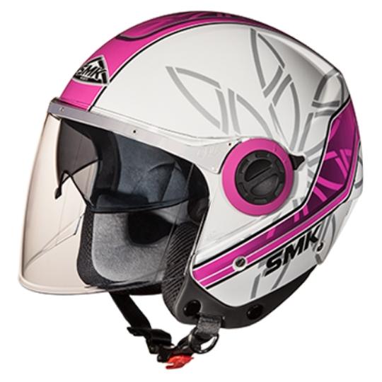 Casca moto scuter SMK SWING ESSENCE GL192 culoarea roz argintiu alb, marimea L femei
